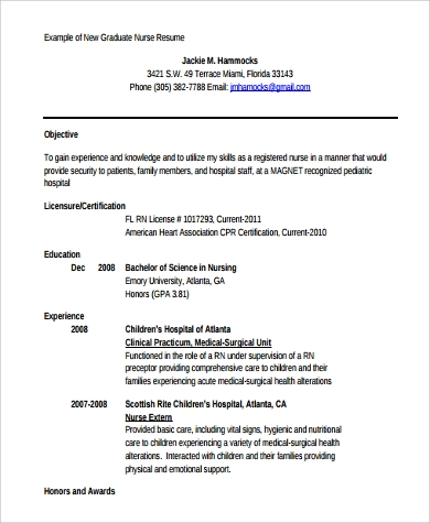 New Grad Nursing Resume Template | Resume Format Download Pdf