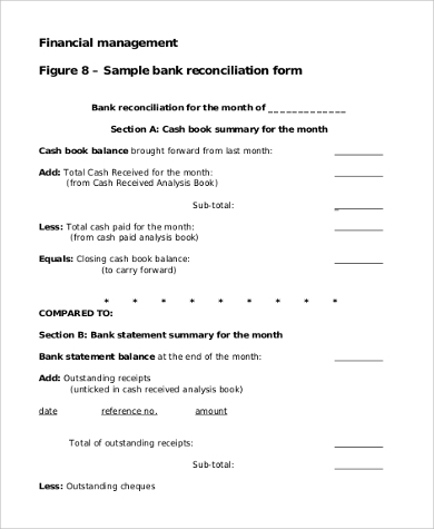 bank reconciliation blank form