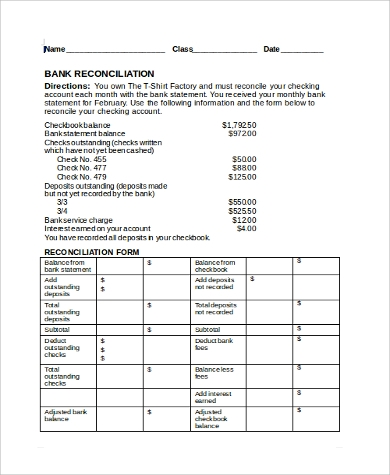 bank balance reconciliation form