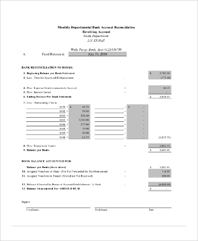 trust account reconciliation template - 9 sample bank reconciliation forms sample templates