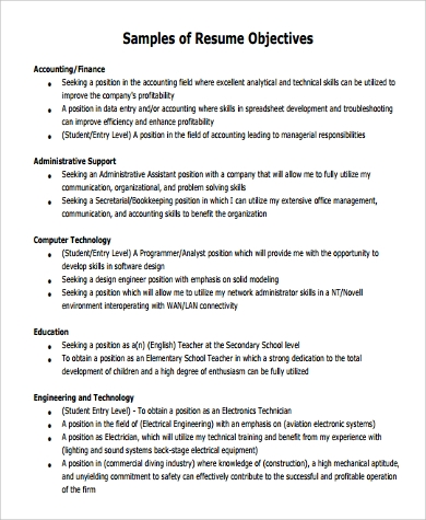 general resume objective