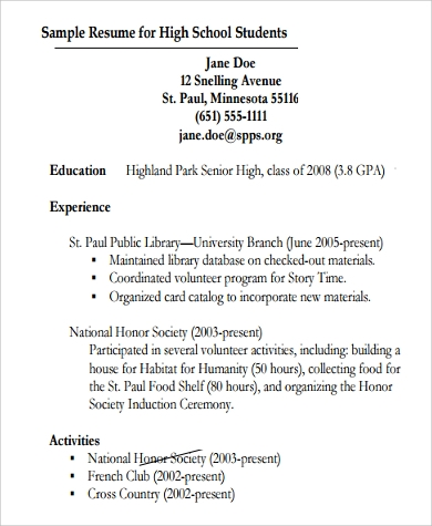 general resume for high school student