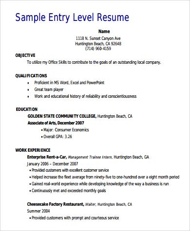 general entry level resume format