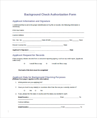Sample Background Check Form   Examples In Pdf Word