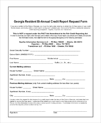 Sample Annual Credit Report Form   Examples In Pdf Word