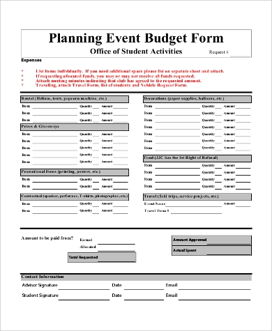 Sample Event Budget Form In PDF