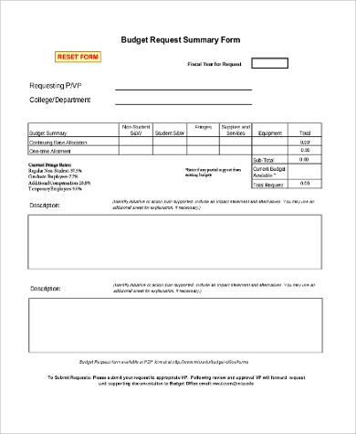 Sample Free Budget Request Form