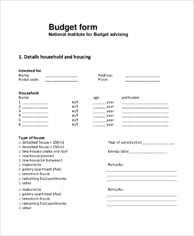 blank budget form