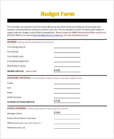 budget form for school
