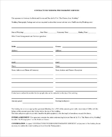 wedding photography agreement contract