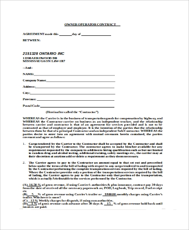 15+ Owner Operator Lease Agreements – Word, PDF