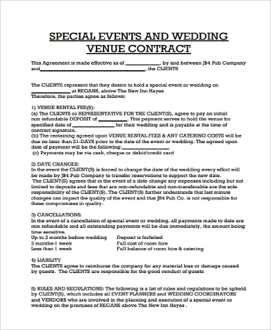 Sample Event Planner Contract Event Planner Contract Template For