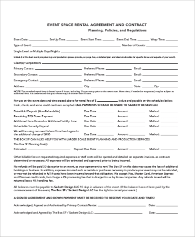 event space rental contract agreement