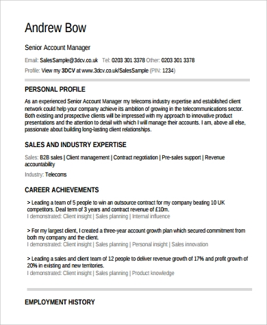 Sample Account Manager Resume 11 Examples In Pdf Word