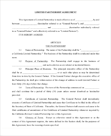 General Limited Partnership Agreement Format