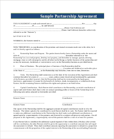 general business development partnership agreement