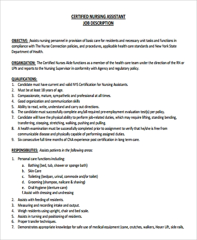 Sample Nursing Assistant Job Description   Examples In Pdf Word