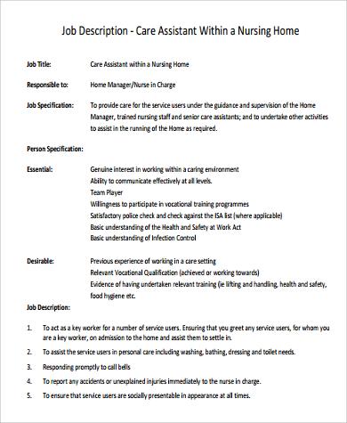 nursing home care assistant job description
