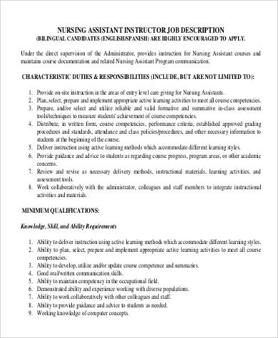 nursing assistant instructor job description