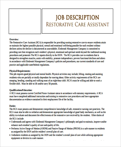 Restorative Nursing Care Assistant Job Description