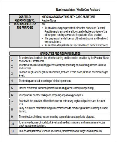 nursing health care assistant job description