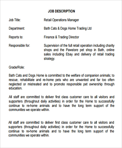 Retail Operations Manager Job Description Sample - Template