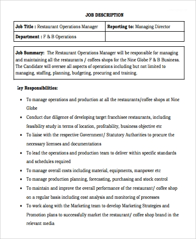 Sample Operation Manager Job Description 9 Examples In Pdf Word