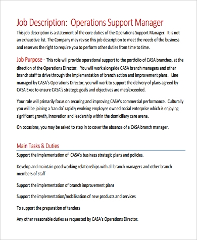 operation support manager job description