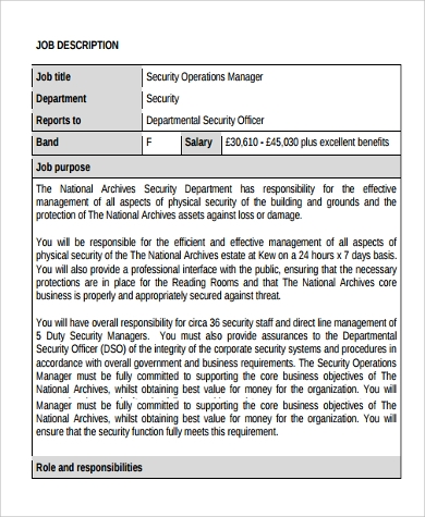 security operation manager job description