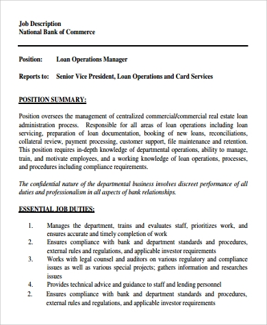 Sample Operation Manager Job Description   Examples In Pdf Word