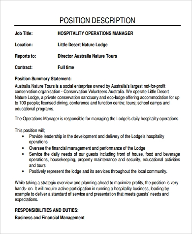 Superb Hospitality Operation Manager Job Description