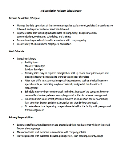 Sample Sales Assistant Job Description - 9+ Examples In Pdf, Word