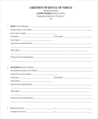 vehicle rent agreement form