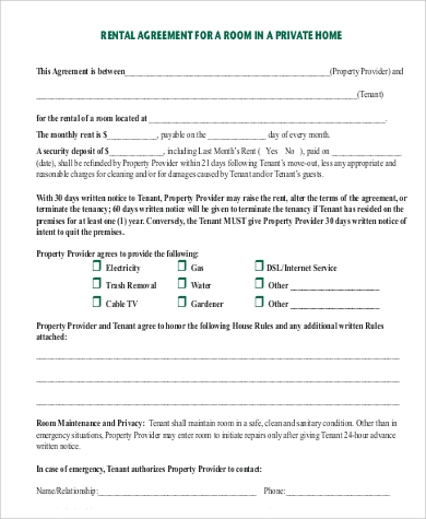 rent home agreement form