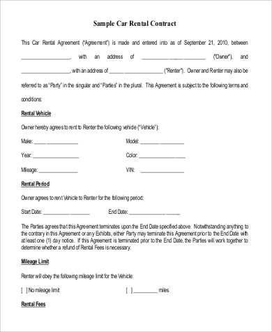sample car rental contract form