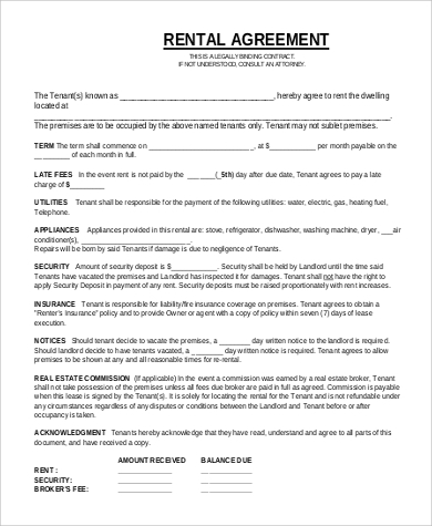 Sample Rent Agreement Form   Examples In Pdf