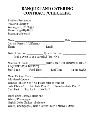 catering contracts templates 13 catering contract samples sample templates