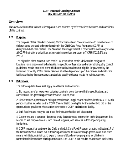standard catering contract