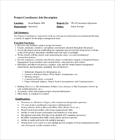 Sample Coordinator Job Description - 9+ Examples In Pdf, Word