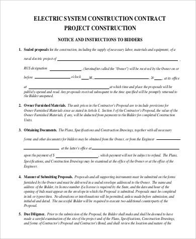 Sample Construction Contract   Examples In Pdf Word