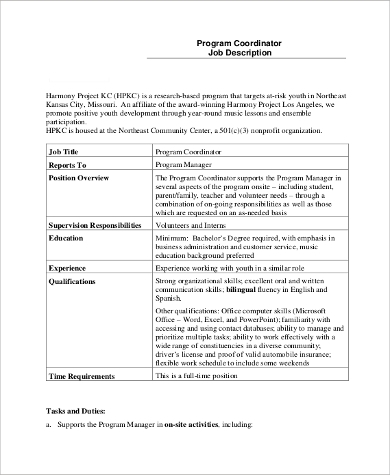 Sample Coordinator Job Description   Examples In Pdf Word