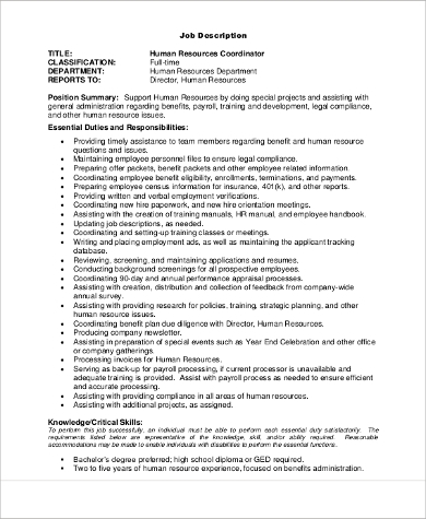 human resources coordinator job description
