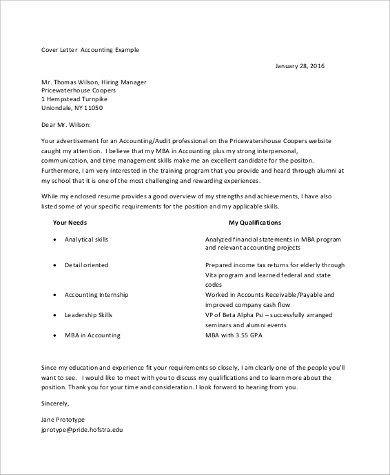 Accounting Internship Cover Letter Example