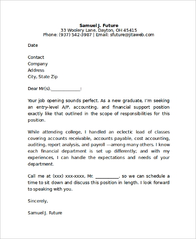 entry level cover letter for accounting job. Resume Example. Resume CV Cover Letter