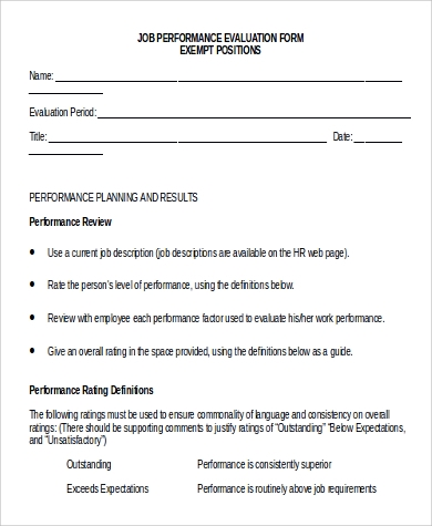 Work Performance Evaluation » Sample Performance Evaluation Form