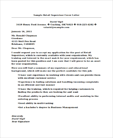cover letter for supervisor position in retail Retail supervisor cover letter needs to written in such a manner that it  the job  of a retail supervisor is overseeing every staff that is working in the retail.