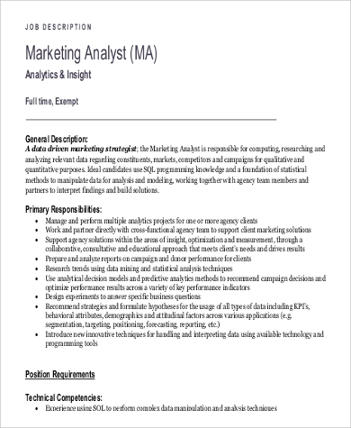 Sample Analyst Job Description   Examples In Pdf Word