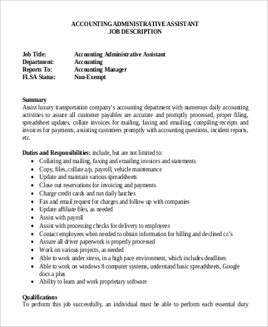 Sample Accounting Assistant Job Description   Examples In Pdf Word