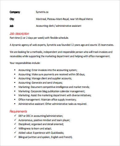 Sample Accounting Assistant Job Description - 9+ Examples in PDF, Word