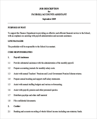 Payroll Job Description Data Entry Job Description For Bank Example